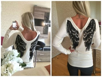 blouse angel angel wings white sweater white blouse blonde hair cute sweater angel blouse angel wing sweater