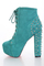 Turquoise faux suede lace up tie spike back platform booties / sexy clubwear