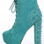 Turquoise Faux Suede Lace Up Tie Spike Back Platform Booties / Sexy Clubwear | Party Dresses | Sexy Shoes | Womens Shoes and Clothing | AMI CLubwear