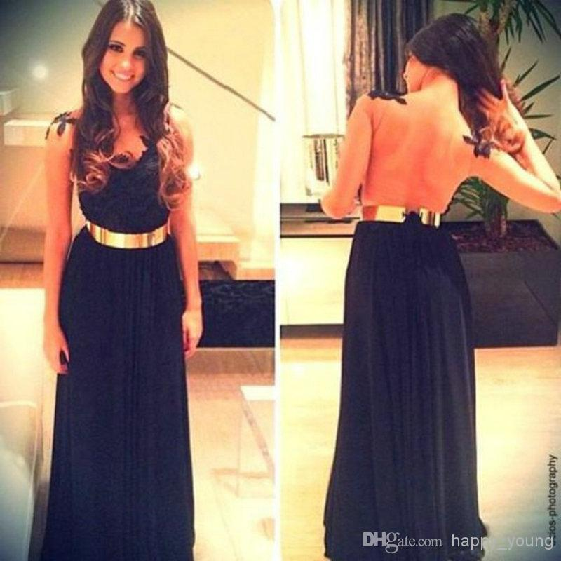 Discount Elegant A-line Black Chiffon Lace Appliques Floor Length Sexy Backless Long Prom Dresses Gown 2014 Hot Sale Fast Shipping Online with $113.11/Piece | DHgate