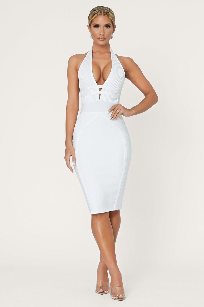Cena Plunge Halterneck Bandage Dress - White