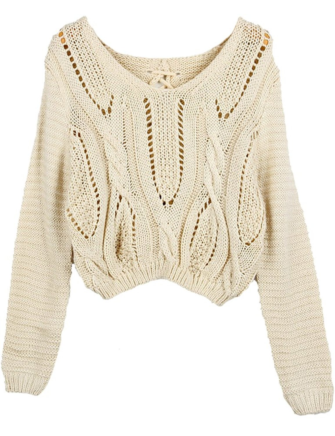 Women Eyelet Cable Knit Lace Up Crop Long Sleeve Sweater Crop Tops ...