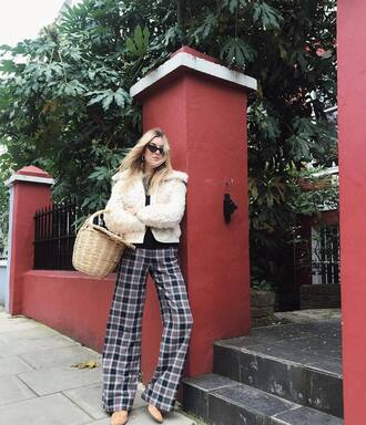 pants tartan pants tumblr tartan jacket white jacket fur jacket wide-leg pants bag basket bag sunglasses