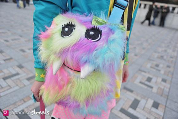 bag cute colourful fluffy monster kawaii