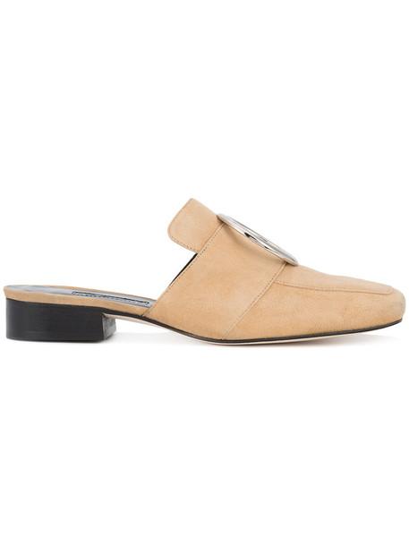 Dorateymur women mules leather nude petrol shoes