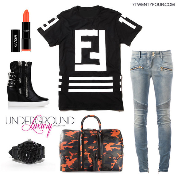 camouflage t-shirt fendi lagerfeld balmain black watch orange lipstick