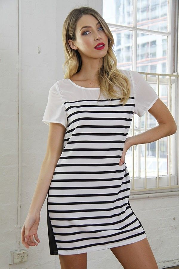 black and white dress black and white stripes crepe dress crepe mini dress loose fit mini dress www.ustrendy.com dress