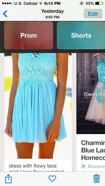 dress light blue flowy laced