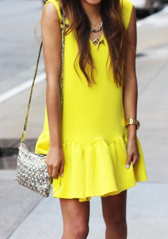 Three Floor Flare Neoprene Dress Yellow   SPREDFASHION