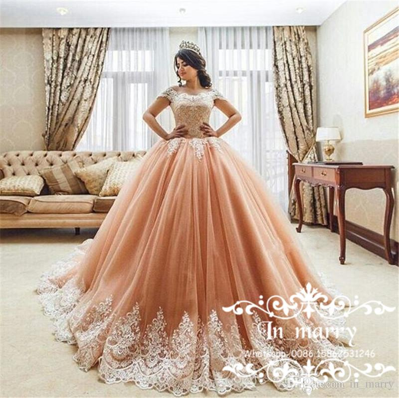 Princess Off Shoulder Ball Gown Quinceanera Dresses with Appliques ...