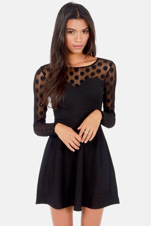 In Hot Dot-ter Long Sleeve Black Dress