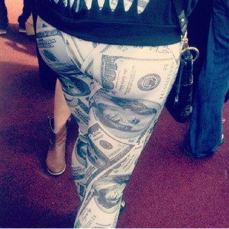 pants dollar print money leggings leggings printed leggings fashion