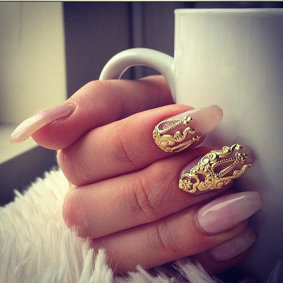 nails nail art gold nail accessories jewels fashion nail art tip nailpolish pink pink nails gold nails curls
