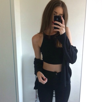 top crop tops black clothes sleeveless sweater jeans