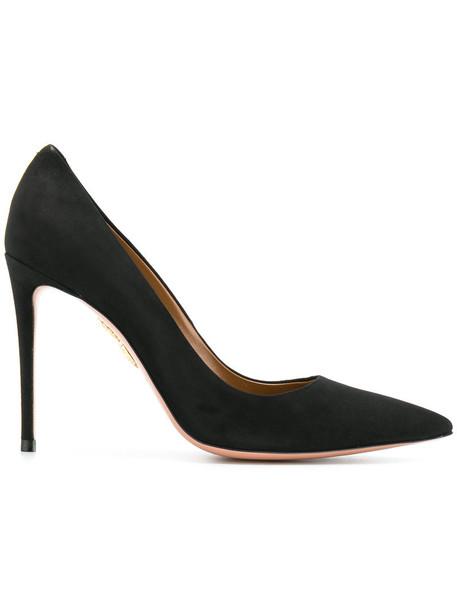 Aquazzura women pumps leather suede black shoes