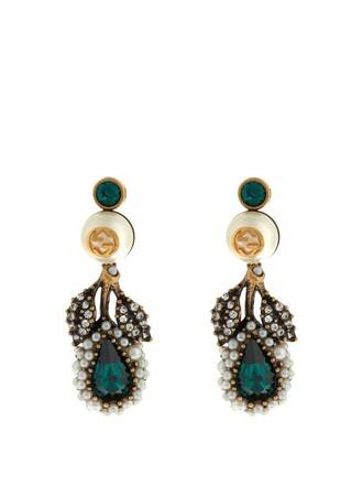 pearl embellished earrings green jewels