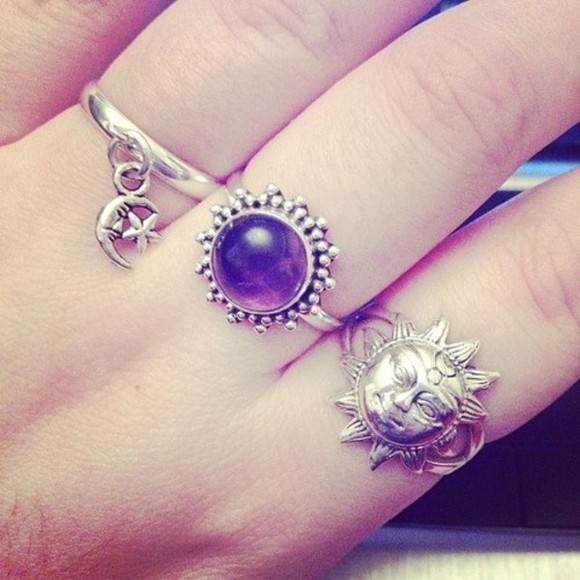 jewels rings sun moon black purple fashion grunge dope budda purpke peace darkness cool peaceful soft grunge
