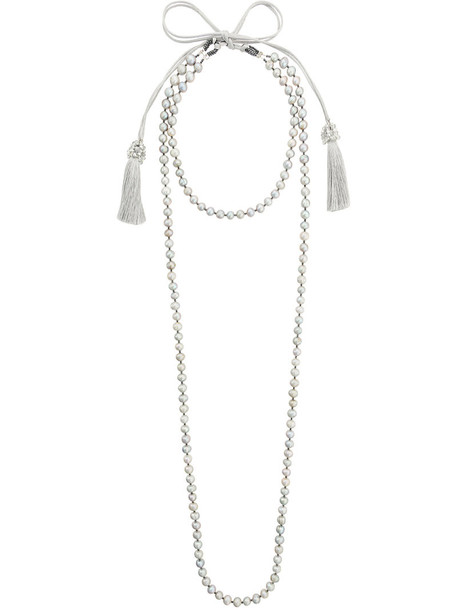 Night Market layered necklace women plastic layered necklace cotton grey jewels