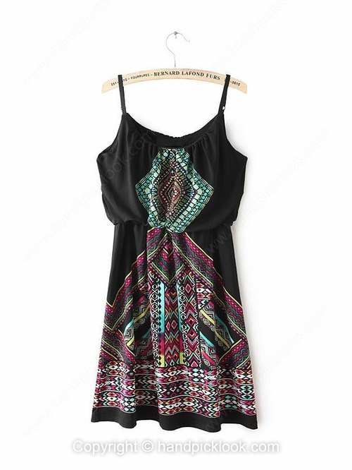 Black flare spaghetti strap sleeveless totem print dress