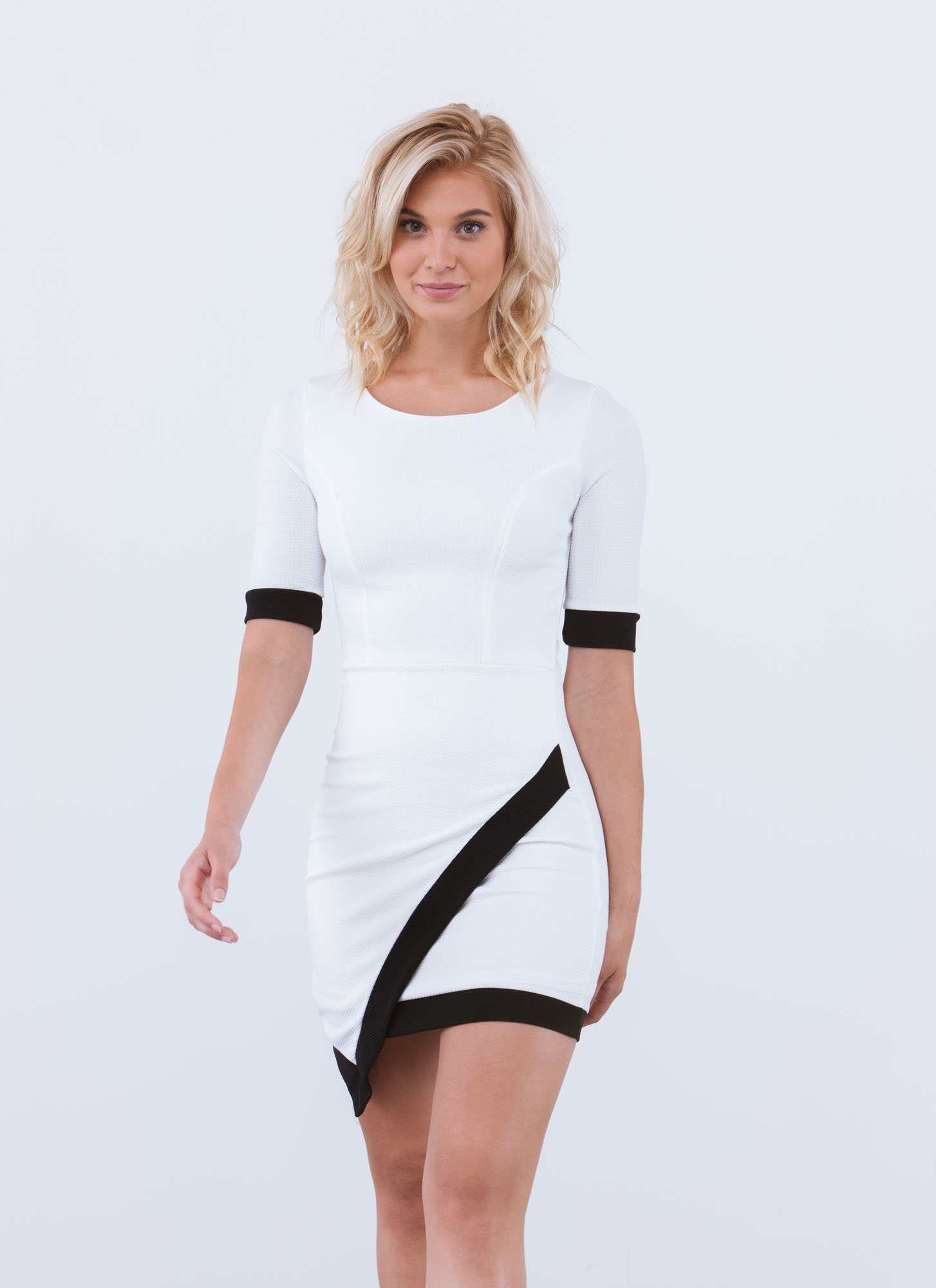 Stark contrast diagonal hem dress white black