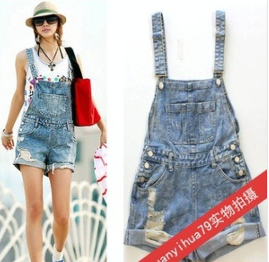 Women hole Short Jeans,Fashion Jumpsuits hot Pants,Overalls Denim ...