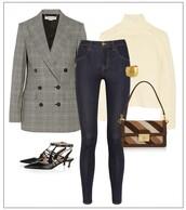 a portable package,blogger,tartan,blazer,skinny jeans