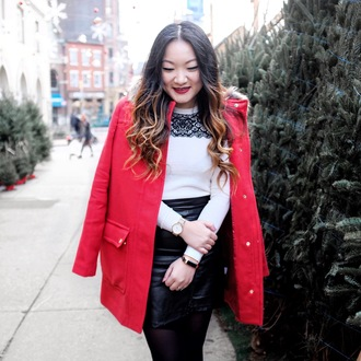 tineey blogger sweater dress coat skirt jewels bag red coat winter outfits mini skirt leather skirt