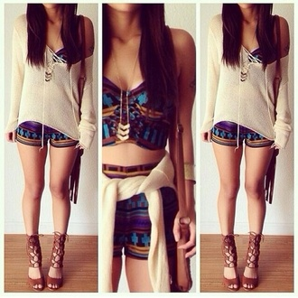 printed shorts print tribal pattern aztec crop tops beige sweater lace up top pendant strappy shoes