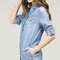 Line denim vintage buttoned denim shirt dress