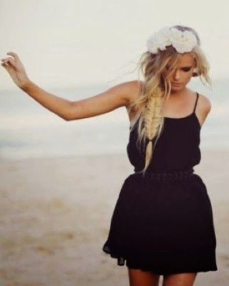 dress black little black dress boho beachy cute
