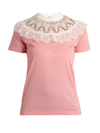 t-shirt shirt cotton t-shirt lace cotton white red top