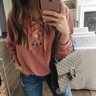 somewherelately blogger top tank top dress sweater gucci bag lace up jumper pink sweater