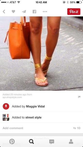 shoes gold flat wrap sandals