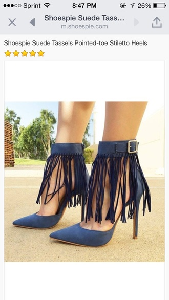 shoes pumps navy blue fringes high heels strappy buckles silver pleather suade shoes