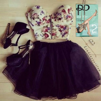 skirt shoes pantyhose tights skirts and tops floral bustier tulle skirt prom