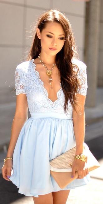 dress baby blue blue light blue short lace v neck