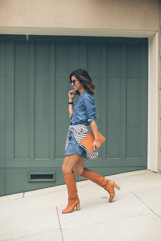 this time tomorrow blogger brown leather boots denim dress