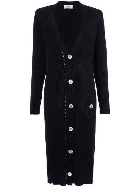 Maison Flaneur - midi card-coat - women - Cotton/Polyamide/Wool - 40, Black, Cotton/Polyamide/Wool