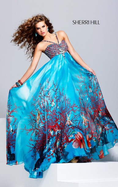 dress sherri hill under the sea sherri hill prom dress sea coral prom dress coral reef blue dress diamond dress