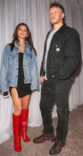 jacket boots denim jacket little black dress red boots emily ratajkowski model off-duty shoes