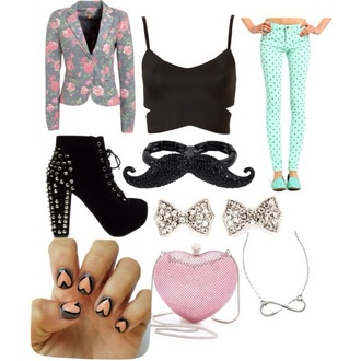 pants turquoise moustache blazer shoes shirt accessories