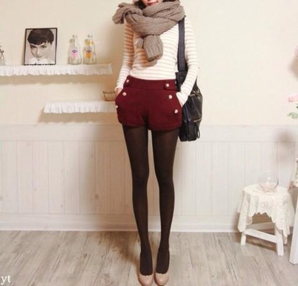 burgundy high waisted buttons sailor sailor shorts fall outfits fall outfits