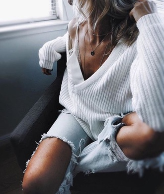 sweater knitted sweater white sweater clothes oversized sweater comfy loose fit sweater