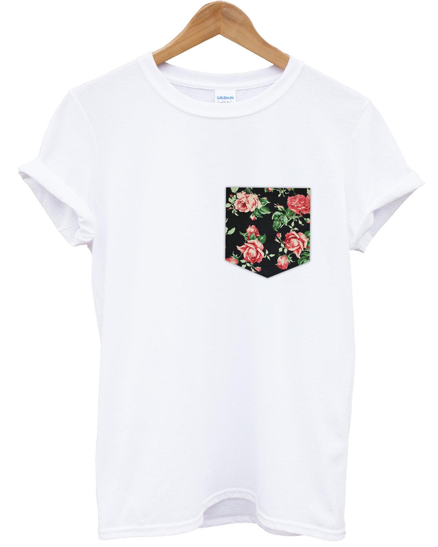 stitched red vintage rose floral print pocket t-shirt hipster ...