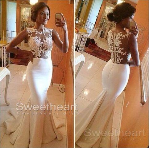 Line round neckline lace long prom dresses, wedding dress