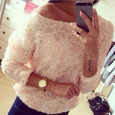Cheap fashion o neck long sleeves floral solid white shirt_blouses&shirts_tops_womens clothing_lovelywholesale