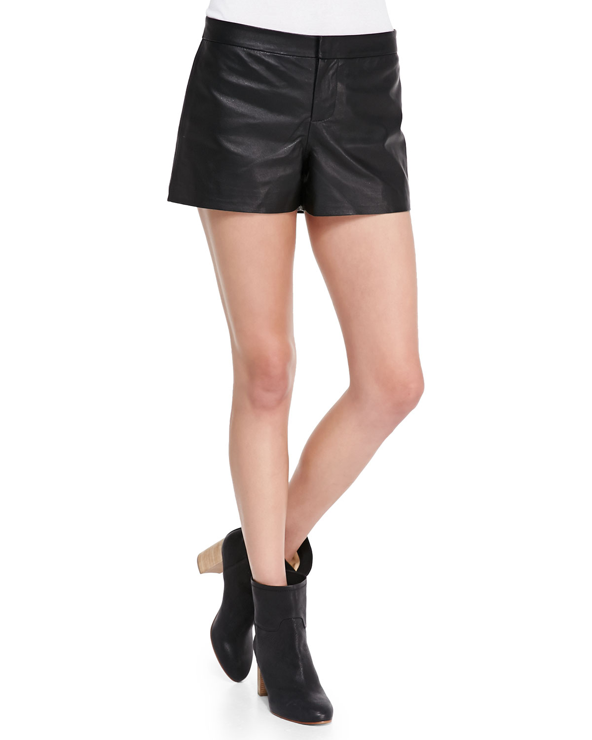 Cusp by Neiman Marcus Thekla Leather Shorts, Black