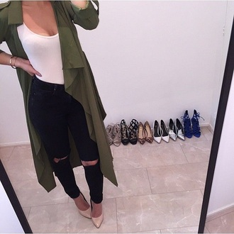 coat white top army green jacket black high waisted pants black ripped jeans black jeans