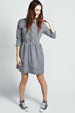 Polly Long Sleeve Gingham Smock Shirt Dress at boohoo.com