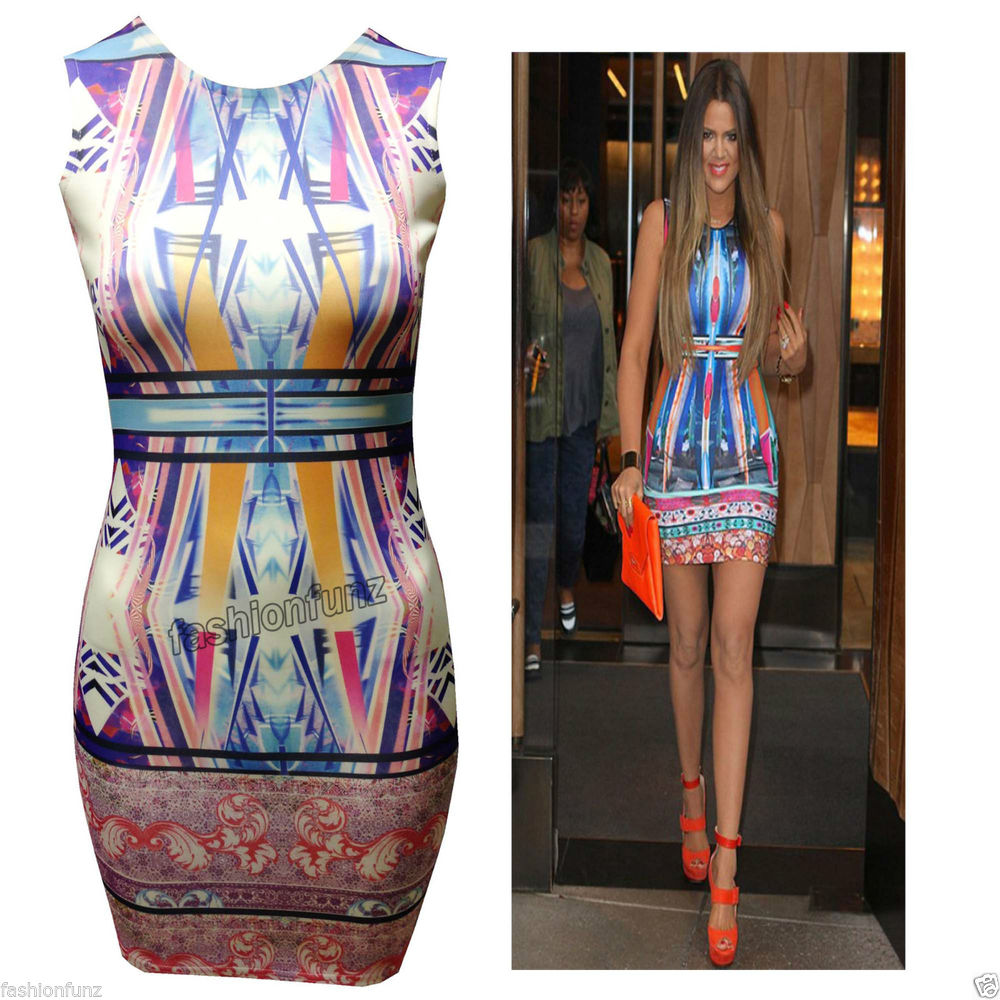 WOMENS LADIES AZTEC SYMMETRY MIRROR PRINT CELEB STYLE SHORT MINI BODYCON DRESS | eBay